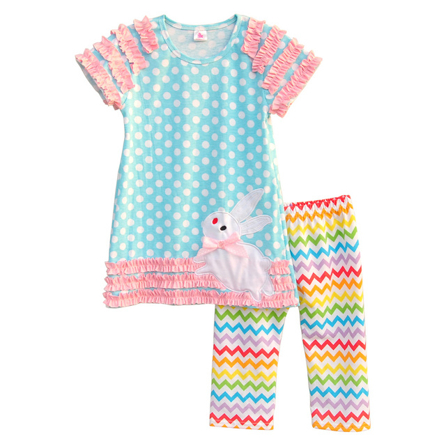 Matching Baby Girls Easter Outfits Short Sleeve Polka Dots Rabbit Top Colorful Chevron Stripes Pants Kids Cute Clothing E003