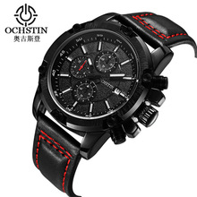 2017 New Famous Brand Black Casual Geneva Quartz Watch Men Leather Strap XFCS Men's Watches Relogio Masculino Chronograph GQ075B купить недорого в Москве