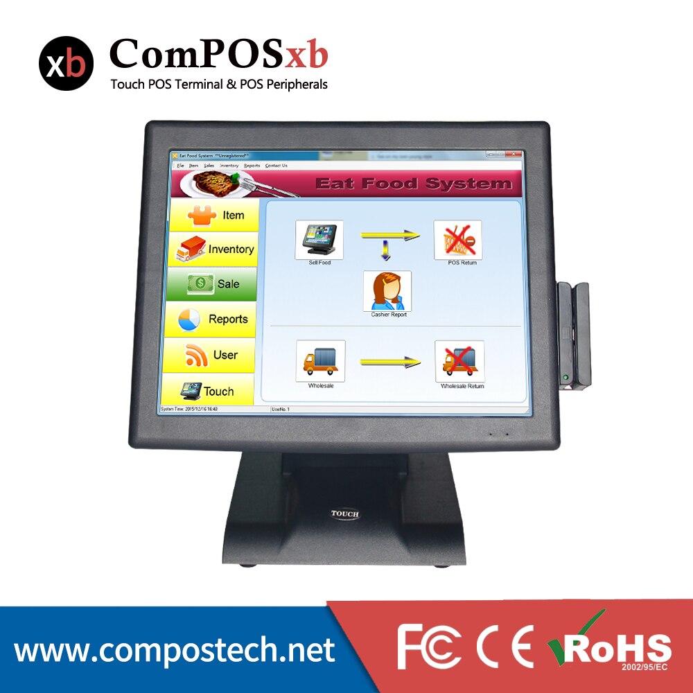 15 pouces TFT LED Point de vente caisse enregistreuse Pos Machine Core i3 tout en un système Epos avec affichage client VFD et MSR