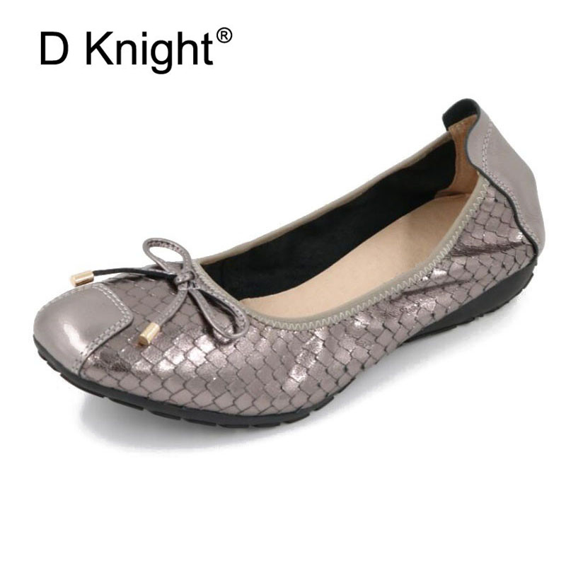 Women Genuine Leather Ballet Shoes Large Size 34-43 Bowtie Lady Footwear Square Toe Moccasins for Women Slip On Flat Nurse Shoes bowtie ballet flats women sweet casual single shoes summer soft open toe sandals slip on fashion ladies large size 41 moccasins