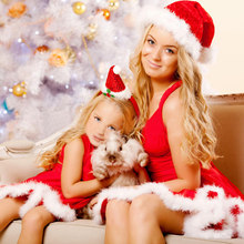 Christmas mom and daughter dress Faux Fur Dress Deep V Neck Sleeveless mother and daughter clothes High-Low Mini Skater Dress(China)