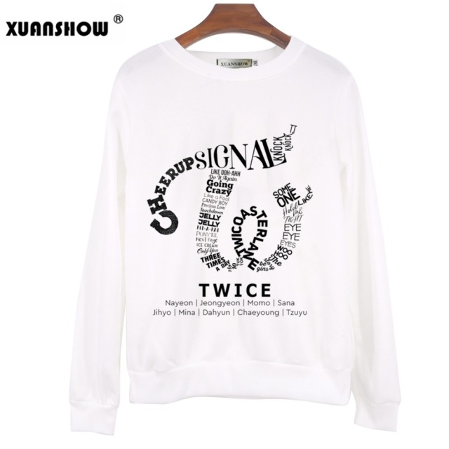 XUANSHOW 2018 TWICE Kpop Sweatshirt Hip Hop Album Shirt Casual Letters Printed Hoodies Clothes Pullover Printed Long Sleeve Tops 1
