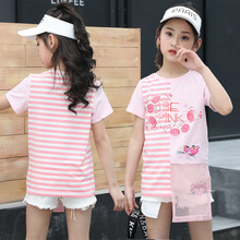 Girls Princess Clothes Set Pink Striped Tshirts White Jeans Shorts 2 Pcs Cotton Girls Summer Clothing Sets New Fashion Clothing