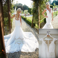 цены Sexy V Neckline with Illusion Tulle Wedding Dress Fit and Flare Train Lace Appliques Bride Gowns Mermaid Skirt for Outdoor Party