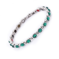 Fashion Health Jewelry Negative ion Stainless Steel Jewelry Magnetic Bracelet With Zircon Energy Bracelets Bangles for Women