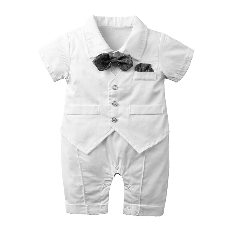 Gentleman Newborn Baby Boys Clothes Sets Christening Formal Party Bodysuits Outfits Short Sleeve Summer Outwear Suits for 0-2Y