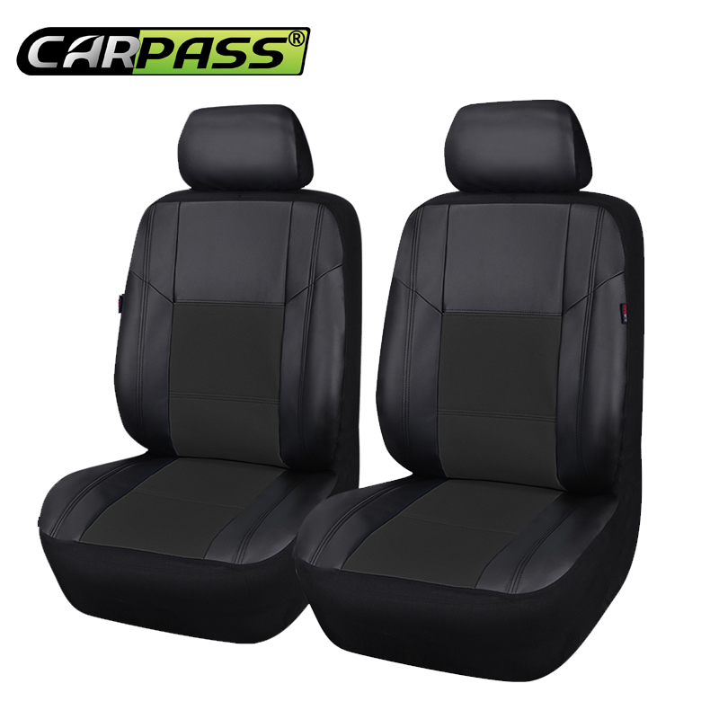 Car-pass Front Two Pu Leather Auto Car Seat Covers Fit Most Vehicles Seats Interior Accessories 5 Color Car Seat Protector universal pu leather car seat covers front back seat cushion cover auto chair pad car interior accessories black