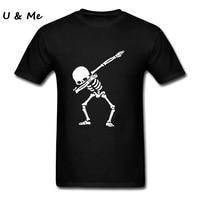 Hip Hop Dabbing Skeleton Mens T Shirt Punk Black Shirts Men Funny Skull T Shirts Plus
