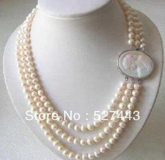 84c94d483475 El envío libre al por mayor de  genuino 3 filas 7-8mm agua dulce collar de  perlas broche camafeo