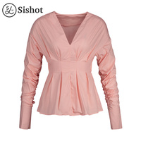 Sishot Women Casual Blouse 2017 Autumn Spring Cute Pink Plain Sexy V Neck Fashion Pleated Straight