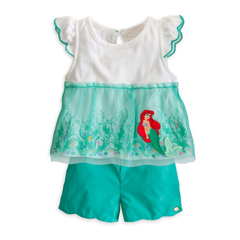 The Little Mermaid Ariel Green Girls Clothing Sets Kids Tops + Pants Two Piece Set Baby Girl Summer Clothes Children Clothing