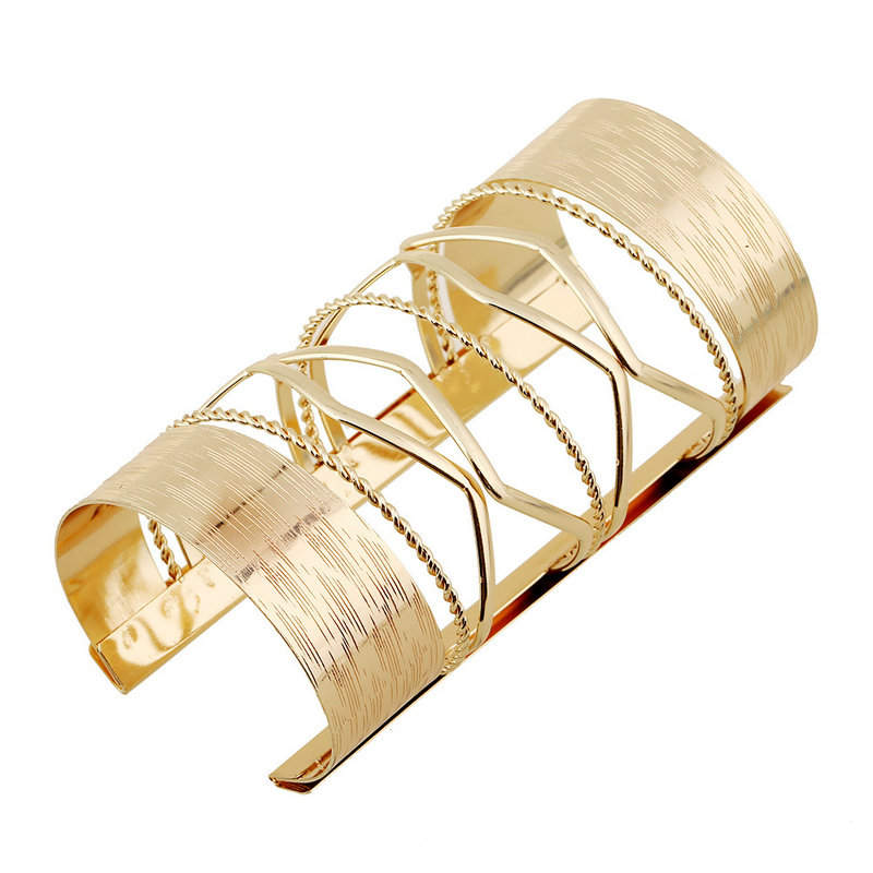 Fashion Brand Designer Jewelry Exaggerate Cuff Arm Bangles For Womens Vintage Gold Color Alloy Trendy Large Punk Bracelet