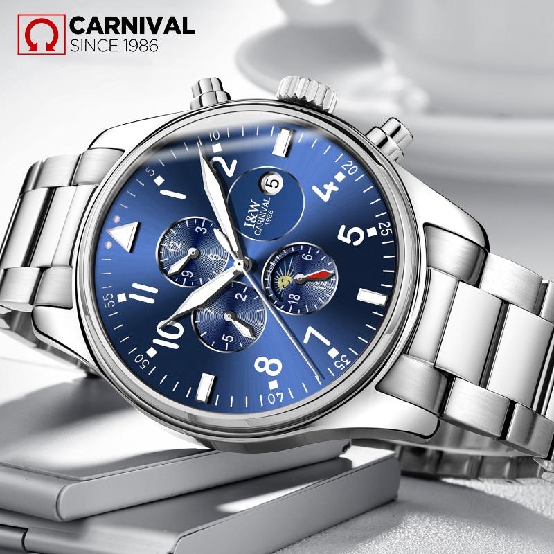 2017 TopBrand CARNIVAL Fashion Stainless Steel Men's Watches Luxury Waterproof Luminous Automatic Mechanical Watch Glow Relojes