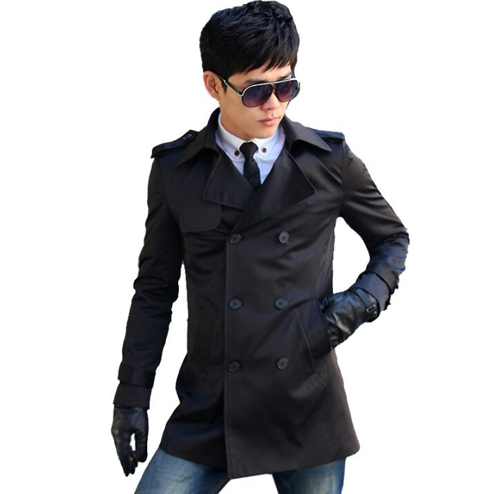 Fashion slim sexy long   trench   coat men overcoat long sleeve mens clothing double breasted outerwear casaco spring 2019 black