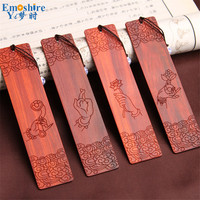 High Grade Solid Wood Bookmark Set Vintage Carved Wooden Bookmarks For Books Office Accessories Business Gifts