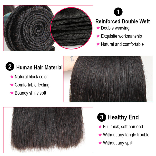 Satai Straight Hair Bundles With Closure 100% Human Hair Bundles With Closure Brazilian Hair Bundles With Lace Closure Non Remy 1