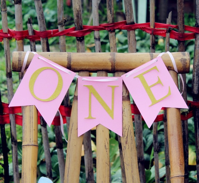Girls Pink And Gold Party Decoration First 1st Birthday One High Chair Banner Pennant Bunting Highchair