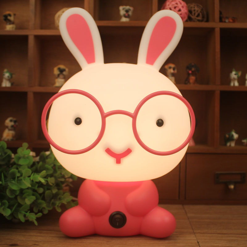 Night Sleeping Lamp Baby Room Panda/Rabbit/Dog/Bear Cartoon Light Kids Bed Lamp for Gifts US/EU Plug --M25 цена