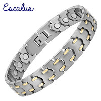 2015 Men 22pcs Magnets Titanium Magnetic 2 Tone 18K Gold Bracelet Gentlemen Bio Health Free Shipping