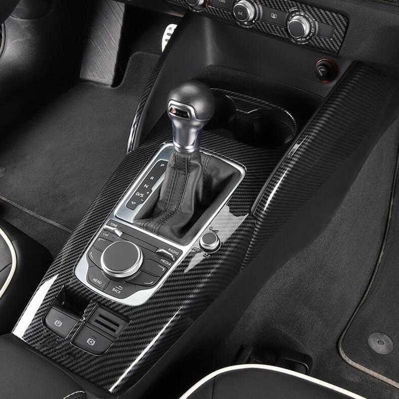 Carbon Fiber Style Center Console Gear Shift Panel Decoration Cover Trim For Audi A3 8V 2014