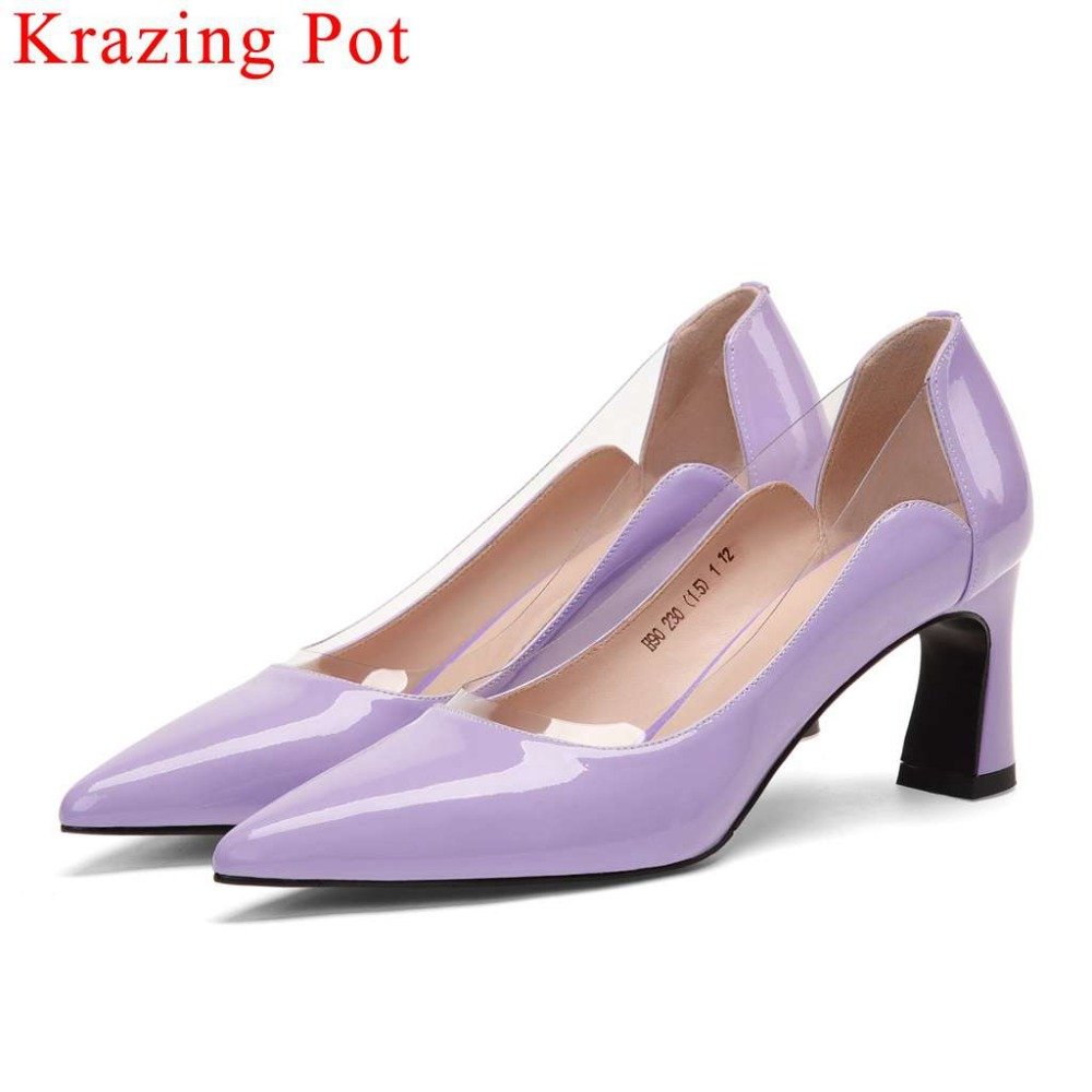 2019 British style woman brand pumps cow patent leather high heels slip on jelly shoes pointed