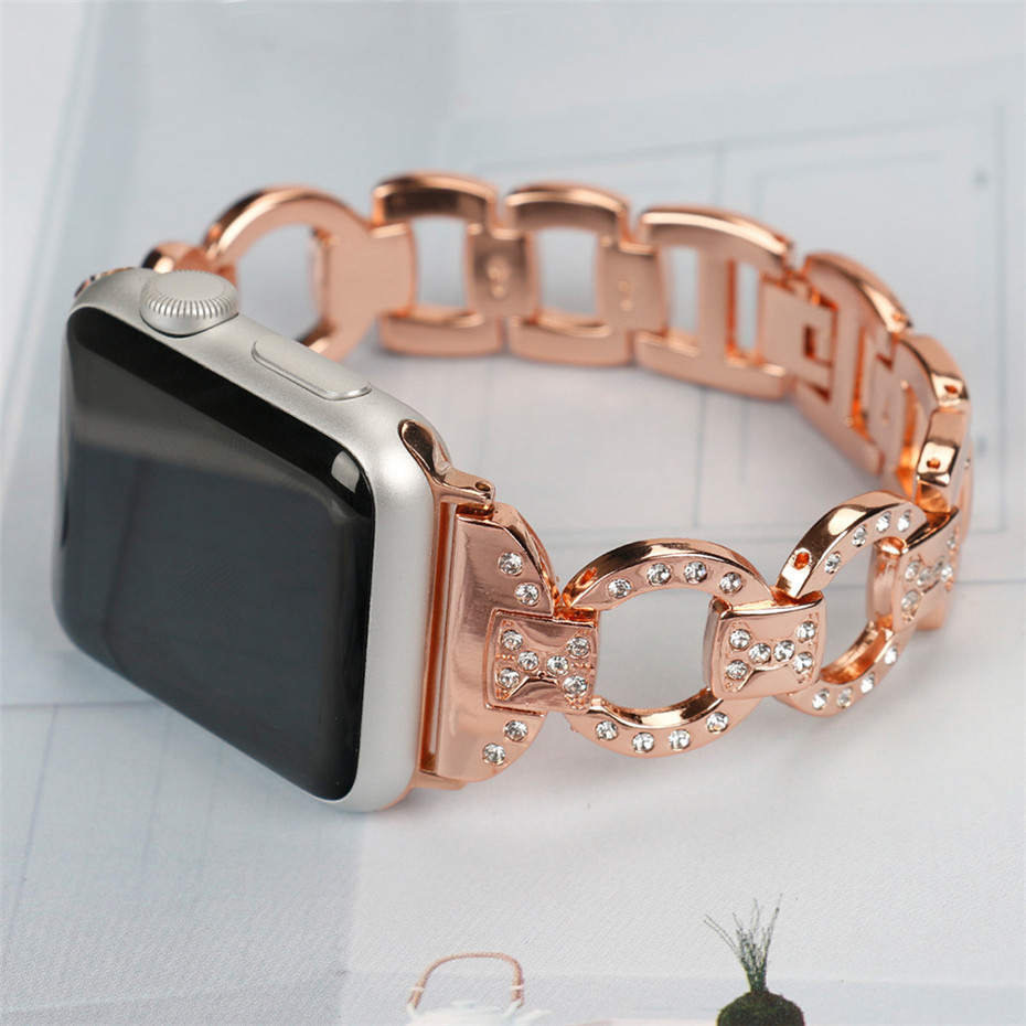 Crystal Women Watch Band for Apple Watch 38/42mm Stainless Steel Watches Strap For iWatch Hollow Design Replacement Bracelet stylish golden hollow rounded rectangle hasp bracelet for women