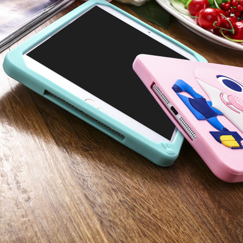 Tablet Case For ipad 2017 9.7 inch Cute Cartoon Rabbit Kids Shockproof Silicone Rubber Stand Back Cover For ipad 2018 Case  (9)