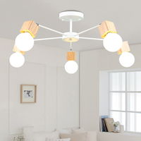 LEDceiling lightsNordic מודרני מינימליסטי סלון תקרת מנורת חדר שינה יצירתי אישיות עץ אוכל חדר den led תקרה|תאורת תקרה|פנסים ותאורה -