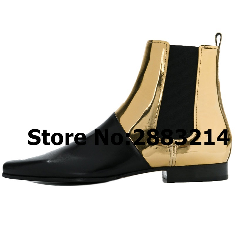 Pointed Toe Genuine Leather Slip on Men Rome Designed Chelsea Boots Black Gold Leather Casual Man Ankle Boots Shoes Wholesale-in Chelsea Boots from Shoes    1