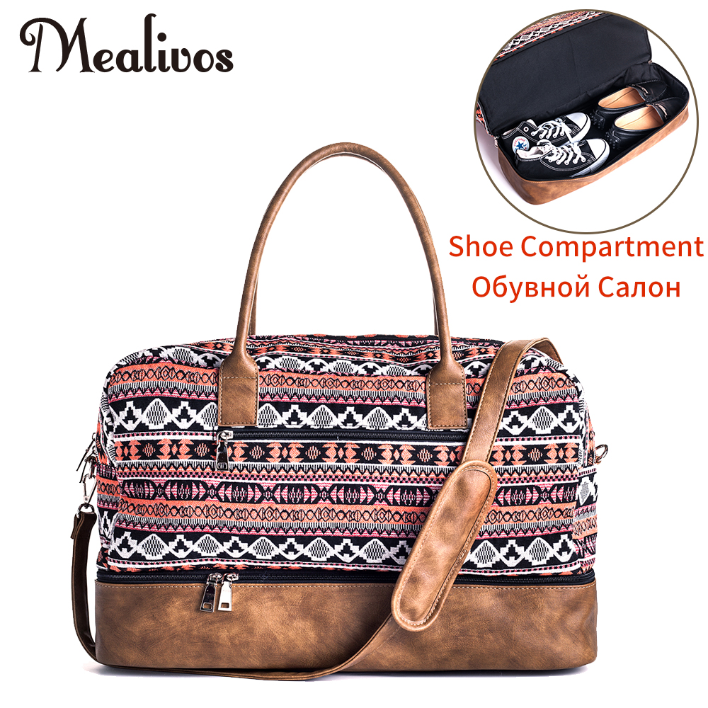 Mealivos 2017 Fashion Canvas large Weekender Women Bag Overnight Travel bag Carry On Duffel with Shoe