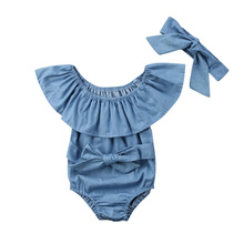 Solid Ruffled Collar Denim Romper with Headband For Baby Gir