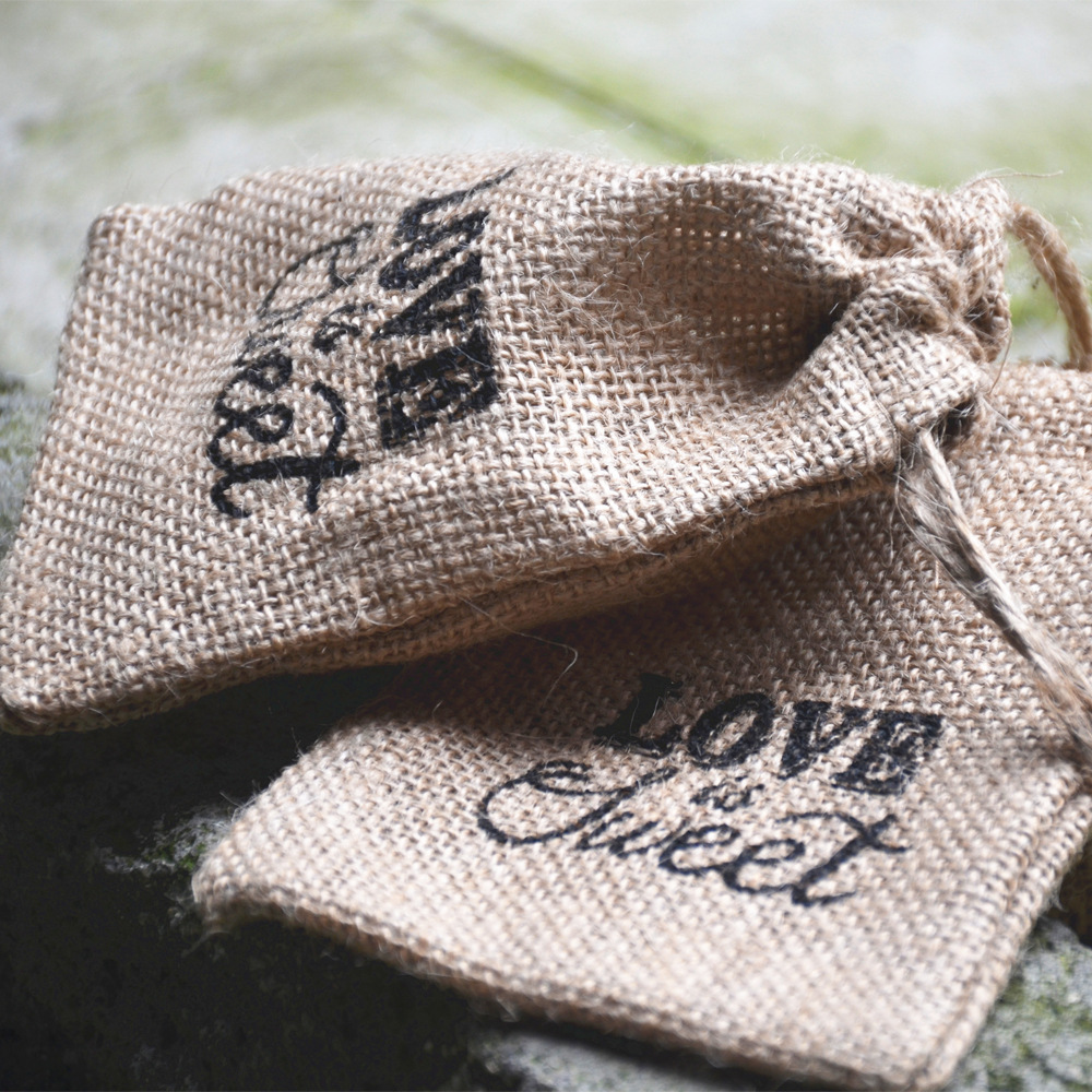 10PCS Rustic Wedding Decoration Jute candy bag with text print wedding favor and gift bag marriage party anniversary supply gift for boyfriend on anniversary