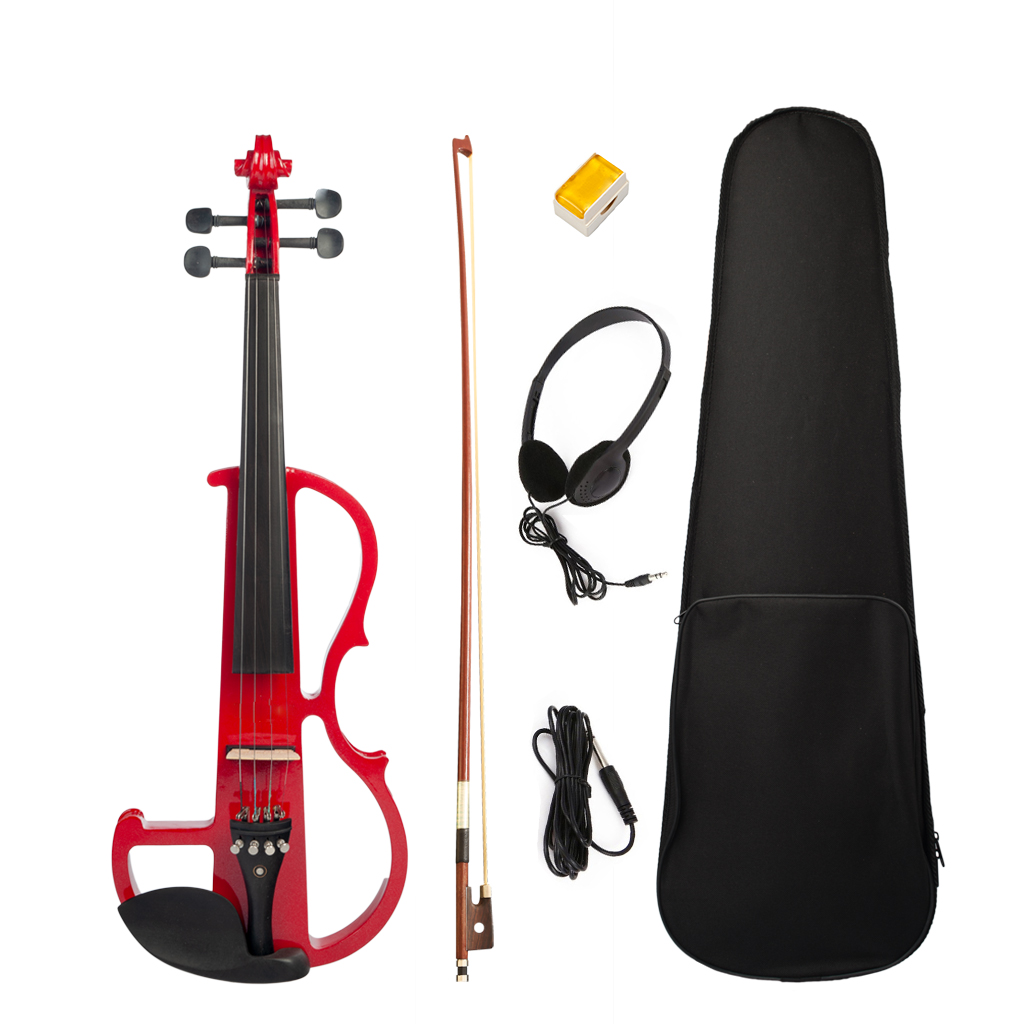 Full Size 4/4 Silent Electric Violin Solid Wood Maple With Bow Hard Case Headphone Cable Rosin New Set Red