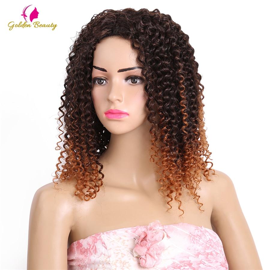 Golden Beauty 6st / pack Kinky Curly Sy i väv Hair Extensions 14-18 - Syntetiskt hår - Foto 6