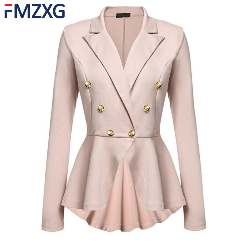 8 Colors Women Spring Elegant Coat Workwear V Neck Double Button Midi Suit Solid Color Long Sleeve Office Lady   Trench   Outwear