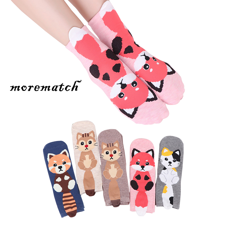 Morematch 1 Pair Funny Women   Sock   Cute Animal Kitten Fox Squirrel Pattern Cotton   Socks   5 Colors Optional