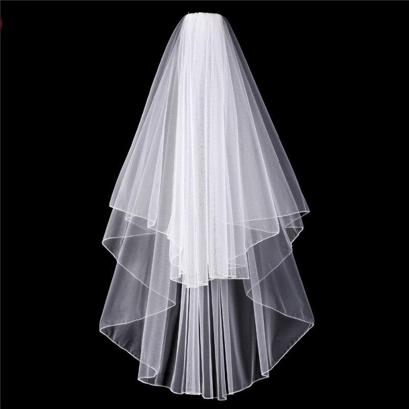 Фаты и Свадебные вуали с расческой короткие слоновая кость фаты дешевые вэу-де-noiva Курто высокое качество Свадебные аксессуары для невесты ...
