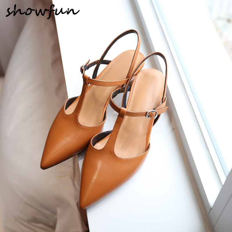 ab86efa8f0b8 Women s genuine leather t-strap retro vintage low heel comfort sandals  brand designer pointed toe elegant ladies high heel shoes