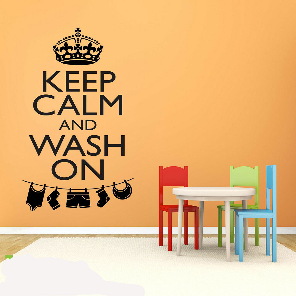 Personality slogan Keep Calm And Wash ON vinyl wall decal detachable laundry room decoration wallpaper XY11-in Wall Stickers from Home & Garden