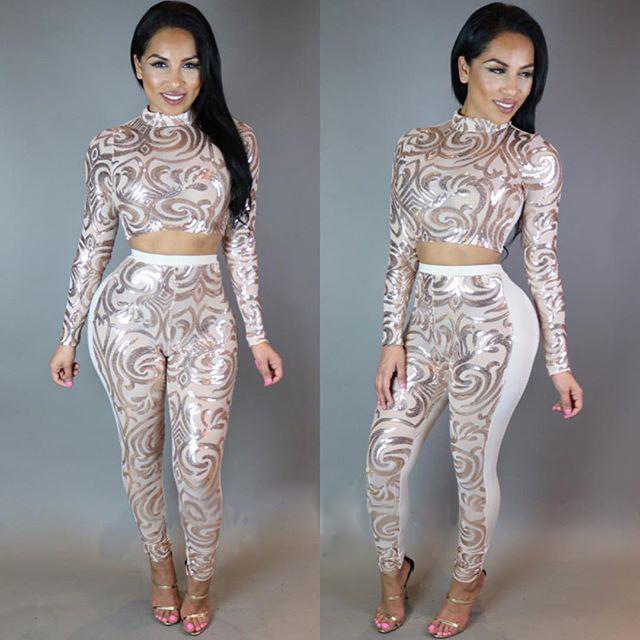 f2fe0c6fb89c Evening Two Piece Sexy Bodycon Jumpsuit 2016 White Black Sequin Jumpsuit  Romper Trousers Long Sleeve Women Jumpers and Rompers