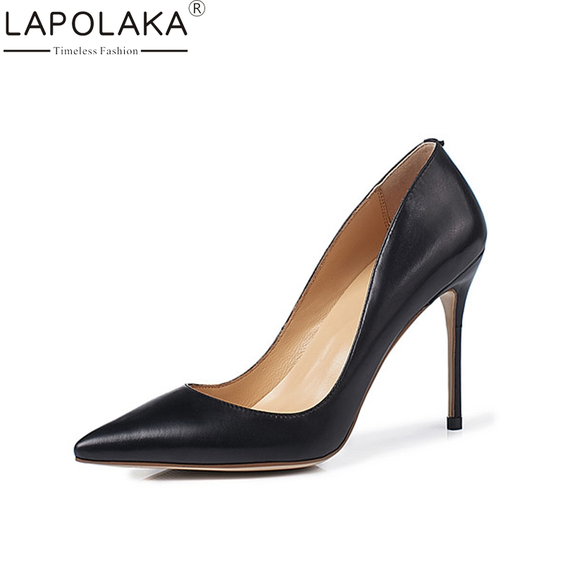 LAPOLAKA Brand New Genuine Leather Thin High Heels Pointed Toe Solid Shallow Shoes Woman Casual Spring Pumps Big Size 33-40 lapolaka cow genuine leather mix color spring summer pointed toe women shoes pumps thin high heels shoes woman