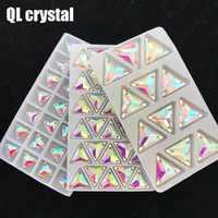 QL Crystal Sew On Rhinestone Clear AB Crystal Glass Crystal Triangles flatback sewing button for DIY Garment bags shoes