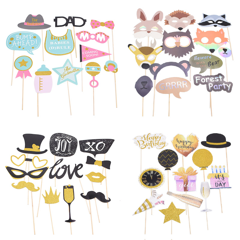 1Set DIY Photo Booth Props Wedding Decorations Photobooth Props Baby Shower Bridal Shower Decoration Kids Birthday Party Favors