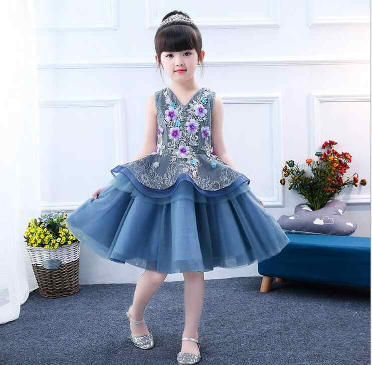 861b0944f hot 3D Flower Girls Party 2 Layer Dress Embroidered Formal Bridesmaid  Wedding Girl Christmas Princess Ball