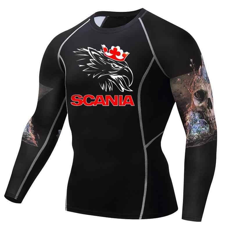 Мужские ММА фитнес футболки модные 3D волчонок обтягивающие с длинным рукавом Футболка Кроссфит, бодибилдинг SCANIA одежда с принтом