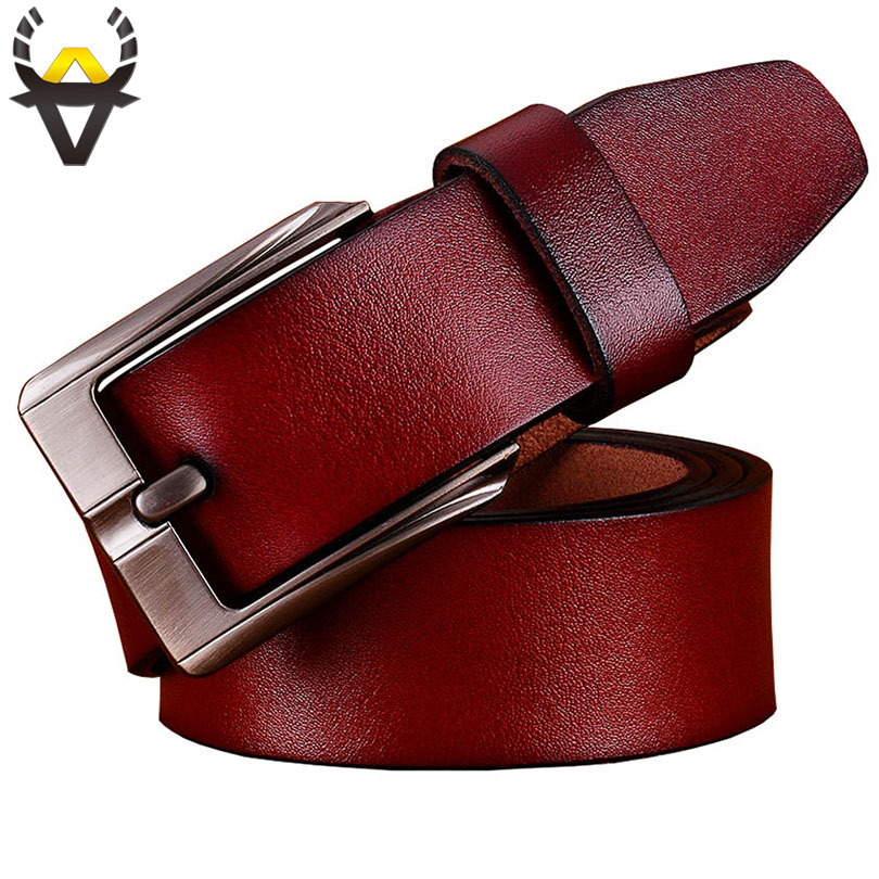 Casual Genuine Leather Belts For Men Luxury Wide Pin Buckle Man Belt Quality Second Layer Cow Skin Waist Strap Male Width 3.8 Cm
