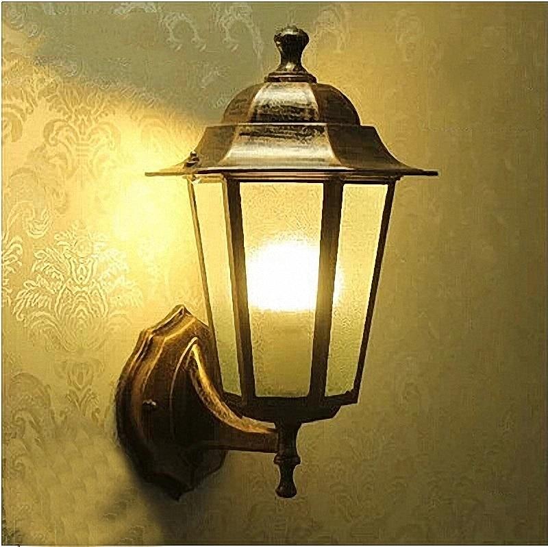 ФОТО European style villa wall lamp, outdoor balcony lamp Retro waterproof wall lamp 3W led bulb bronze and black color