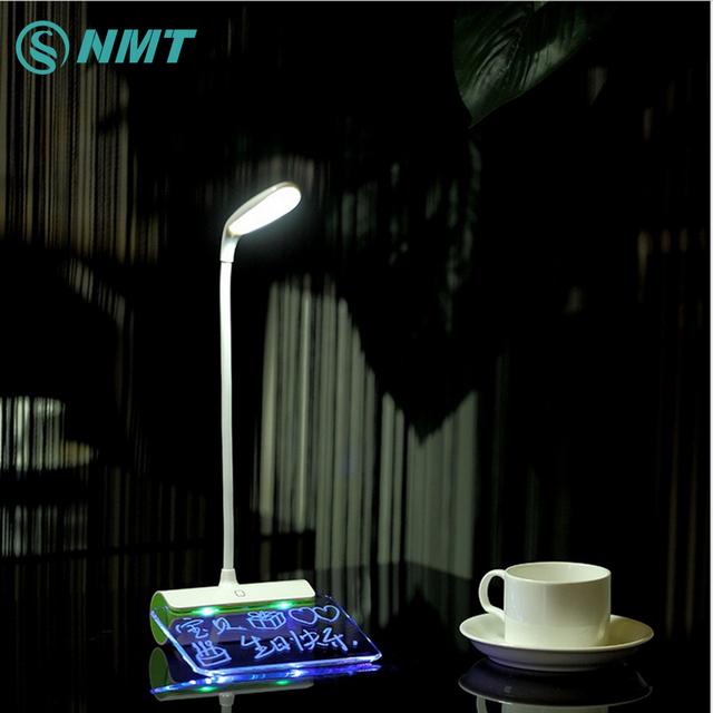 DC5V Toque Regulável Desk Lamp Led Portátil Recarregável USB Mesa Atmosfera para Crianças Livro de Leitura de Luz com Placa de Mensagem