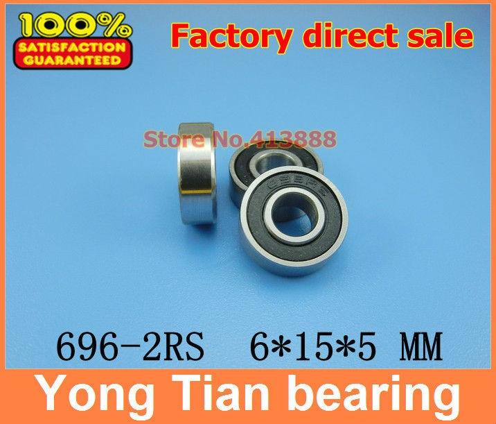 6x15x5 mm 696-2RS HYBRID CERAMIC Si3N4 Ball Bearing QTY 2 Black 696RS