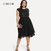 COLROVIE Plus Size Black Solid High Waist Bodice Sexy Sequin Dress Women 2018 Autumn Streetwear Party Dress Elegant Midi Dresses